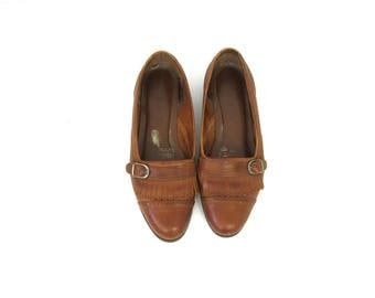 Brown Leather Loafers Fringed Deck Shoes Moccasins with fringe Buckle Preppy Flats Women's slip on shoes size 10