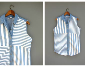 Sleeveless Jean Tank Top Denim Collared Button Up Vintage Shirt Striped Blue White Jean Preppy Summer Shirt Women's Size Medium
