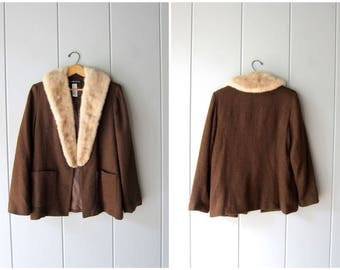 Fur Collar Jacket Modern Brown Blazer with Large Fur Collar Modern Open Sweater Knit Jacket with Pockets White Mink Collar Coat Womens Large