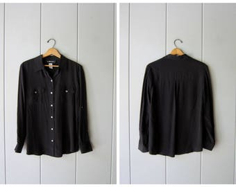 Slouchy Silk Blouse 90s Black Button Up Blouse Basic Minimal Button Down Silk Shirt Loose Fit Minimalist Modern Top Womens Medium size 10