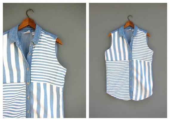 Sleeveless Jean Tank Top Denim Collared Button Up Vintage Shirt Striped Blue White Jean Preppy Summer Shirt Women's Size Medium