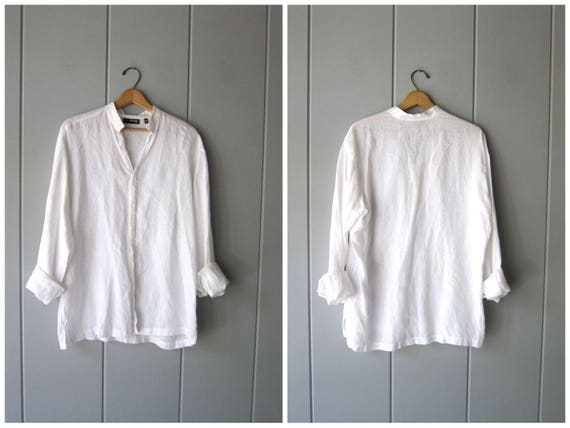 White Linen Button Up Shirt Vintage 90s Minimal Basic Long Sleeve Blouse Simple Collarless Linen Shirt Womens Mens Modern Tee Medium