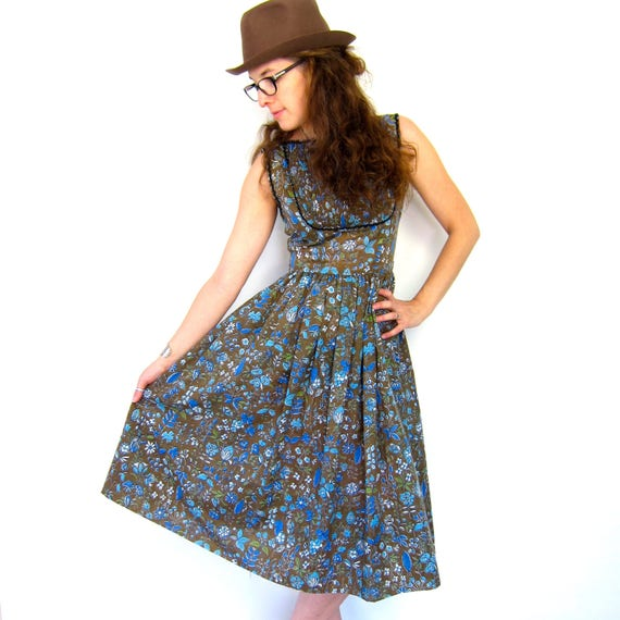 Vintage 50s Floral Dress Summer Sun Dress 50s Mid Century Flower Print Dress Tea Party Sundress Louannes Womens XS Small