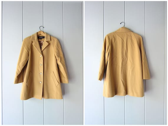 90s Wool Camel Coat Button Down Fall Jacket Classic Tan Coat Vintage Modern Brown Wool Coat Soft Chic Preppy Blazer Coat Womens 10 Medium