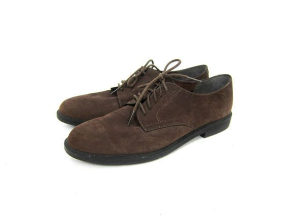 Dark Brown Suede Leather Lace Up Shoes Preppy Tie Loafers Walking Shoes Vintage Minimal 1990s Minimalist Hipster Oxford Sho+es Womens 9 N