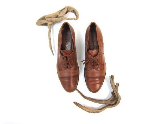 80s Leather Oxfords Lace Up Brown Leather Shoes Preppy 1980s Vintage Prep Hipster Slip On Tie Shoes Fall Oxfords Womens 9 8.5