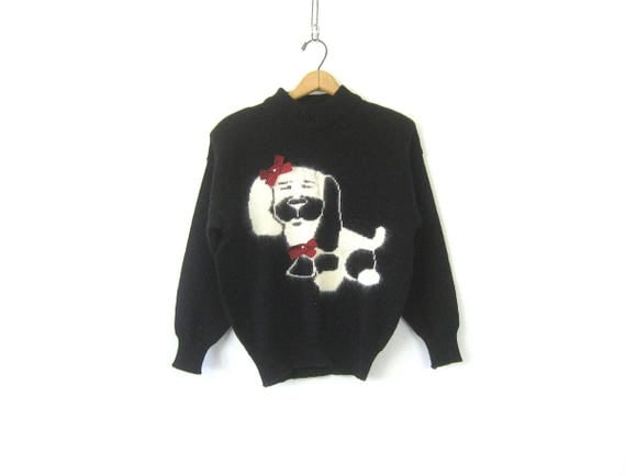 Retro Knit Sweater Vintage Black and White Dog Sweater Pullover Soft Knit Top Hipster Cropped Mock Neck Sweater Womens Size Medium