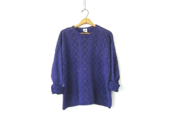 Purple Cut Out Sweater Open Knit Crochet Sweater Knit Top Cotton GAP Sweater Vintage Hipster Pullover Womens Medium