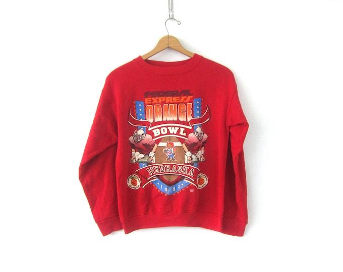 Red Nebraska Huskers sweatshirt Baggy 1993 Orange Bowl Federal Express sweatshirt vintage Novelty Sports Athletic Activewear Medium Large