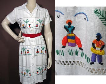 1950s Vintage White Dress with Caribbean Calypso Novelty Embroidery SZ S/M