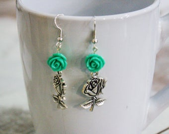 Dangle Earrings - Turquoise Rose