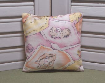 Baby, lavender sachet, vintage style fabric, diaper bag freshener, baby shower gift, nursery decor, 100% dried lavender for a fresh scent