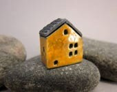 Raku House Focal Bead/Pendant...Warm Yellow