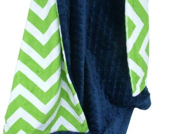 SALE Navy Blue Minky Dot and Lime Green Chevron Minky Baby Blanket, three sizesCan Be Personalized