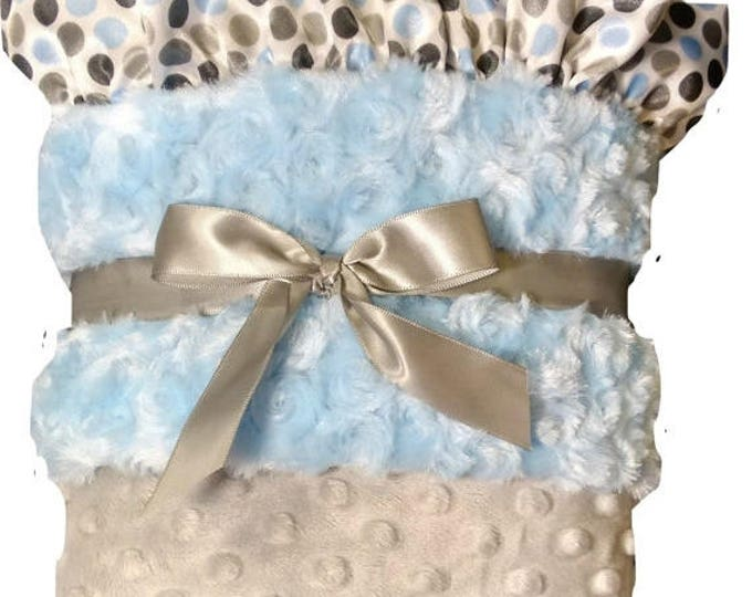SALE Baby Blue and Silver Gray Minky Dot Baby Blanket, Polka Dot Satin Ruffle, can be personalized, three sizes