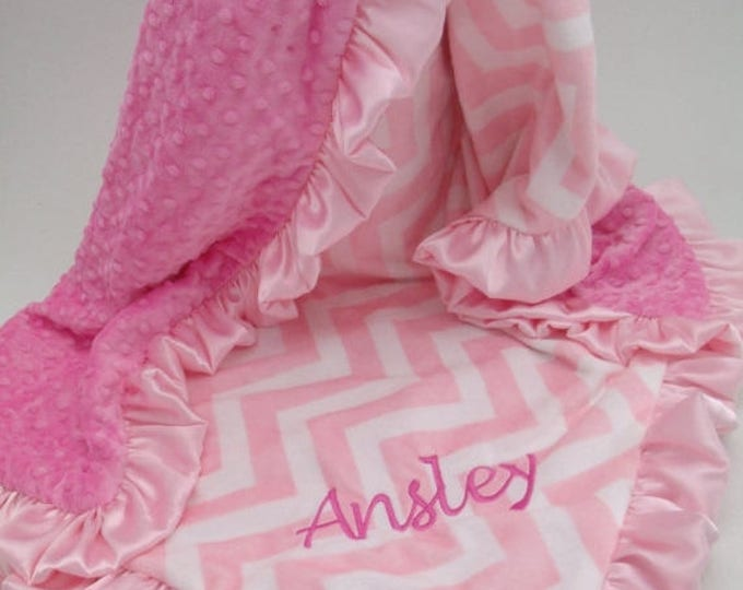 SALE Pink Chevron and hot pink Minky Dot Baby Blanket, 3 SizesCan Be Personalized