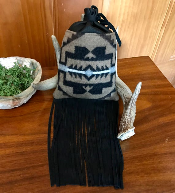 Fringed Cedar Bag / Medicine Bag / Possibles Bag 2XL Wool and Leather Black & Brown