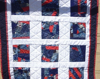 Red, white, and blue crazy quilt (crib or lap)