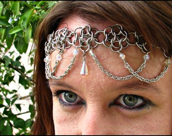 The Crystal Clear Rainbow Flowerette chainmail headband/choker crown chainmaille