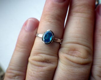 Darling Blue Stone Ring - Sterling Silver - Size 6.5