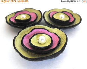 40% OFF SALE Handmade Leather flowers supplies for jewelry making DIY cut Findings Cabochons Pendants Brooches LEather crafrs