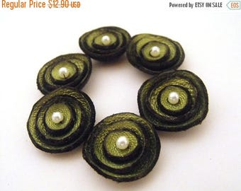 50% OFF SALE 6 pcs TINY round findngs Jewelry supplies. Handmade leather flowers for crafts and jewelry making