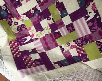 Joel Dewberry Bungalow for Free Spirit - Unfinished Quilt Top Baby 42 x 42 - Ready to quilt - DIY / shower gift / purple, pink, green / girl