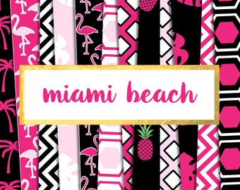 New! Miami Beach Digital Paper Pack (Instant Download)