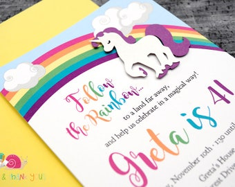 Rainbow Unicorn Invitations · A6 FLAT · White Shimmer and Purple · Unicorn | Over the Rainbow | Magical Birthday Party Invites
