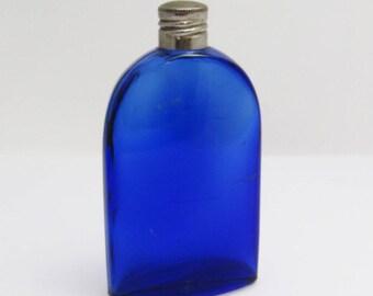 Vintage Cobalt Blue Bottle Home Decor Evening in Paris Bourjois