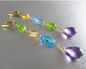 25 OFF Long Mixed Gemstone Asymmetrical Nugget Gold Filled Lever Back Earrings