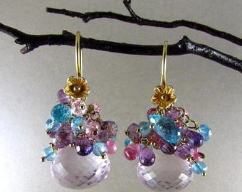 25 OFF Pink Amethyst Cluster Gemstone Gold Filled Earrings