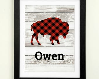 Baby boy nursery wall art woodland nursery print buffalo plaid boy room decor buffalo nursery art personalized baby gift for baby shower