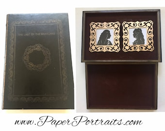 Last of the Mohicans by James Fenimore Cooper, OOAK Vintage Book Box with Real Hand Cut Silhouettes