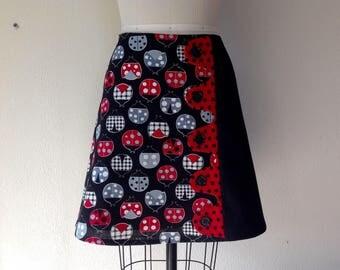 Miss Ladybug asymmetrical a-line skirt Sz 6