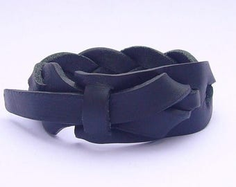 On Sale Braided Black Leather Cuff, Men's Leather Bracelet. Woman's bracelet Free Shipping