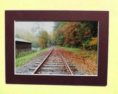 Matted 4x6 Autumn on Track Fine Art Print Photography, Signed Artwork, Small Wall Art Rustic Home Decor Train Tracks Orange Leaves