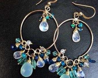 FLASH SALE Aqua Gold Hoop Long Chandelier Earrings 14k Gold Filled Wire Wrap Teal Aqua Green Blue Multicolor Gemstone Handmade Long Earrings