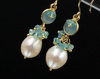 Aqua Earring Apatite Pearl Earring Aqua Chalcedony Gemstone Dangle Earring Gold Filled Apatite Pearl Cluster Earring Aqua Connector Earring