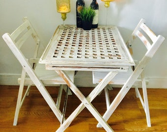 Vintage mid century dining table tray, butler bar, serving tray, wood folding  kitchen table basketweave  farmhouse table
