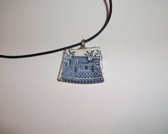 Vintage  Broken China Blue Willow Necklace with black leather chain