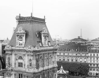 Black and White Photography, Paris From Above, Eiffel Tower, Architecture Photography, Paris Architecture, Hôtel de Ville, Paris Home Decor