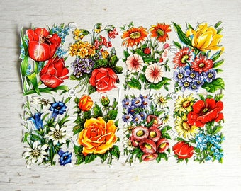 Made In Germany PZB Paper Scraps Flowers | German Die Cut Scraps | Diecut Scraps | Roses Daisies Tulips Bouquets | PZB 1399