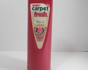 Vintage Airwick Carpet Fresh Rug & Room Deodorizer Half Full Container Potpourri Scent with Veilex For Pet Odors 1980s Movie Prop