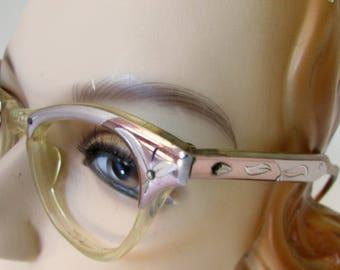 Vintage Eye Glasses Eyeglasses Frames Cateye Style Rose Metal Trim Plastic Frames 1950s Pink and Silver
