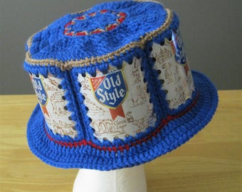 Crocheted Beer Can Hat - Old Style