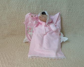 Handmade soft sculptured doll puppet and tote bag,