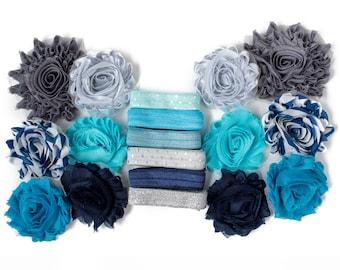 Elsa : Blue + Silver Snow DIY Headband Kit | 6 or 12 Headbands | Chiffon Flower FOE Fold Over Elastic | Princess Parties & Baby Showers