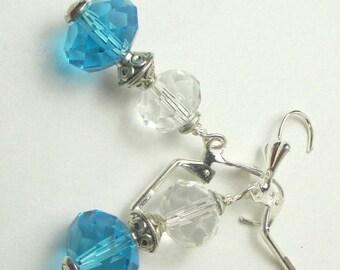 SALE, 50%, Blue Clear Czech glass dangle earrings, blue earrings, clear glass earrings, silver earrings, holiday earrings, czech dangles