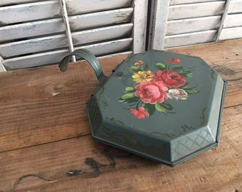 Vintage Toleware Crumb Catcher/Silent Butler, teal with multi color roses. Circa 1960, Shabby Chic Decor